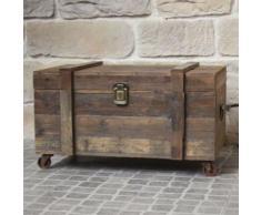 Style Ancien Coffre à Roulettes Malle en Bois de Rangement 71x40x39 cm - Coffres