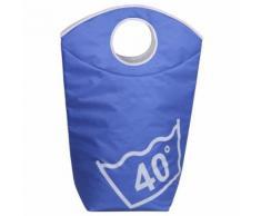 Panier à linge polyester bleu clair - Meubles de salle de bain