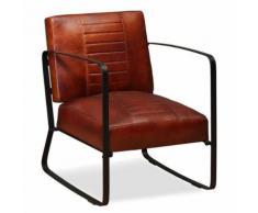 Fauteuil de Salon en Cuir Véritable Style Industriel Marron - Chaise