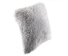 Coussin imitation fourrure poil long Gris, 40 x 40 cm -PEGANE- - Textile séjour