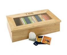Aps boîte à thé en bois (rubberwood) environ 33,5 x 20 cm hauteur 9 cm - 4 compartiments avec fenêtre pour kuvertierte sachets - Accessoires de rangement