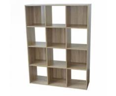 Etagère cube en bois H123 L92cm 12 niches COMPO - Chêne - Étagère