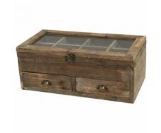 Grande Boîte Coffre Coffret de Rangement à Thé en Bois 50x25x20 cm - Objet à poser