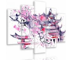 Tableau toile déco multi panneaux 150x100 cm AQUARELLE JAPON BLANC ROSE NOIR - Décoration murale