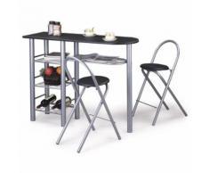 Table haute de bar chaises STYLE MDF noir - Étagère