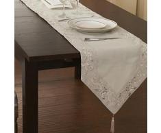 Chemin de table traditionnel à motif florale en polyester beige - linge de table et décoration