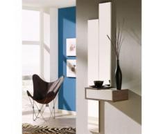 Meuble d'entrée Blanc/Chêne foncé + miroir - NYLA - Commodes