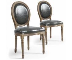 Lot de 2 chaises médaillon Louis XVI Simili (P.U) Gris - Chaise