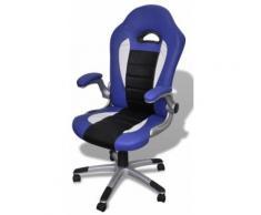 Fauteuil de bureau sport cuir bleu/noir 0502007 - Sièges et fauteuils de bureau