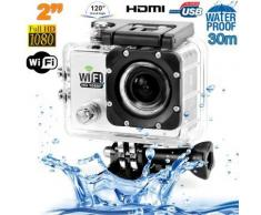 Camera sport wifi étanche caisson waterproof 12 MP Full HD Blanc - Caméscope à carte mémoire