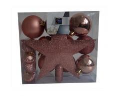 Kit 18 décorations de sapin - Boule et cimier - Beige - Objet à poser