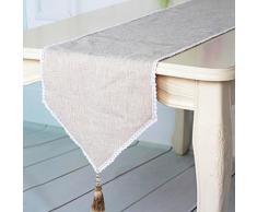 Chemin de table solide en lin et coton Beige - Autres