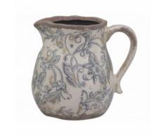 L'Héritier Du Temps - Pichet vase soliflore broc petit arrosoir en terre cuite emaillée blanche motif bleu 13x16x17cm - Objet à poser