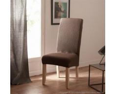 Housse de chaise uni bi-extensible coton/polyester taupe - lot de 2 LISA - Textile séjour