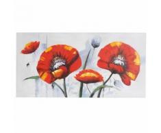 Tableau à l'huile, pavot rouge, peint à la main à 100%, toile de décoration murale XL ~ 140x70cm - Décoration murale
