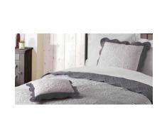 Housse de coussin 45x45 EMMA gris/anthracite - Linge de lit