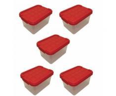 Lot de 5 boîtes de rangement plastique, transparente avec couvercle, bac à superposer ou em-piler 2L 19 x 14,5 x 11,5 cm - Boite de rangement