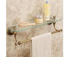 Porte-serviette en laiton antique avec etagère en verre - Accessoires salles de bain et WC