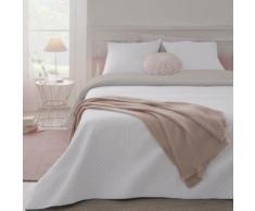 Ensemble dessus de lit matelassé avec ses 2 housses - blanc et beige - Linge de lit