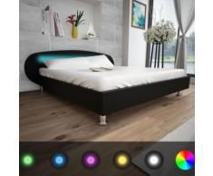 Meelady Lit avec LED Lit Double pour Adulte en Bois 200 x 180 cm Tissu Noir - Cadre de lit
