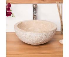 Vasque STROMBOLI à poser en marbre crème 40cm - Installations salles de bain