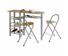 Ensemble STYLE avec table haute de bar mange-debout comptoir et 2 chaises/tabourets, en MDF couleur hêtre et structure en métal - Étagère