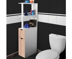 Meuble WC étagère bois gain de place pour toilette 2 portes hêtre - Accessoires salles de bain et WC