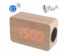 Haut-parleur stéréo bluetooth multifonctionnel en bois led avec l'horloge alarme de musique de 64 accords couleur claire - Mini-enceintes