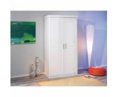 Armoire penderie dressing rangement chambre moderne 2 portes pin massif BLANC - Armoire