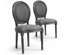 Lot de 20 chaises de style médaillon Louis XVI Gris Tissu Gris - Chaise