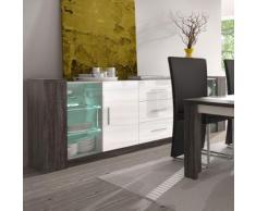 Enfilade LED 220 cm blanc et couleur chêne gris LILOU - L 220 x P 40 x H 85 cm - Buffets