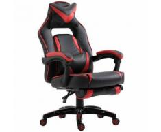 Fauteuil de bureau manager grand confort style baquet racing gamer pivotant inclinable avec coussins et repose-pieds simili cuir noir rouge - Sièges et fauteuils de bureau