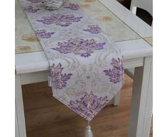Chemin de table à motif florale violet en coton - linge de table et décoration