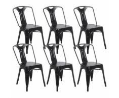 Zons Lot De 6 Chaises Industrielles Retro Empilable Noir 42X47Xh78Cm - Chaise