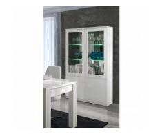 Vitrine, vaisselier, argentier FABIO blanc brillant high gloss + LED. Meuble design pour votre salon ou salle à manger. - Buffets