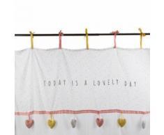 Rideau Blanc motif Sweety coeurs pour chambre enfant, L.260 x l.140 cm -PEGANE- - Rideaux et stores