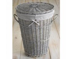 Panier à linge osier cérusé gris avec housse amovible coordonnée 43x57cm Vintage
