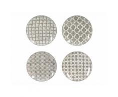 Assiettes plates en céramique D.26cm motifs ethniques gris - Coffret de 4 pièces SANTIAGO