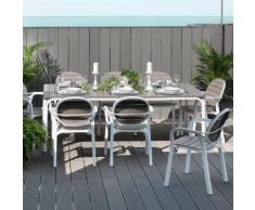 Salon de jardin 8 places: table rectangulaire extensible en DurelTOP avec fauteuils ALLORO/PALMA Taupe/Blanc