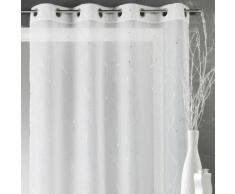 Voilage à œillets polyester impression lignes argentées blanc 140x240cm MOLENE