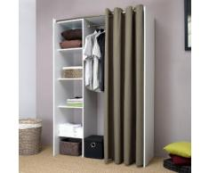 Dressing extensible 4 niches 1 penderie en bois L123/160xP50xH182cm ARTEMIS Blanc / Taupe