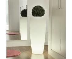 Pot de fleur lumineux en polyéthylène blanc Hauteur 70cm Bambu