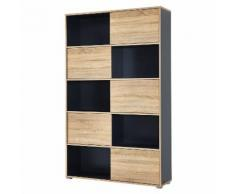 Armoire de bureau avec 5 portes coulissantes L120cm H196cm SLIDE Anthracite/Chêne 196cm