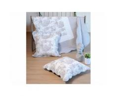 Couvre lit boutis polyester + 2 taies volant toile de Jouy beige/blanc MITRA 260x240cm