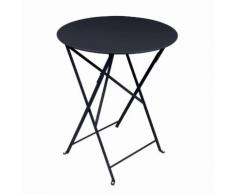 Table de jardin ronde pliante acier laqué BISTRO Carbone 60cm