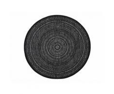 Tapis rond intérieur/extérieur en polypropylène spirale géométrique D.160cm JAKE Noir