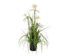 Plante artificielle fleur pompon blanc en pot noir ELLIOT 90cm