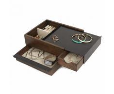 Boite à bijoux en bois multiple tiroirs de rangement 27.9x20.3x10.2cm STOWIT Noyer