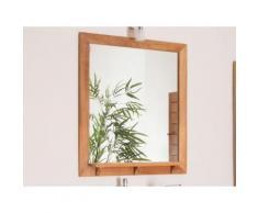 Miroir de salle de bain rectangulaire avec tablette en teck L.70cm WELLINGTON