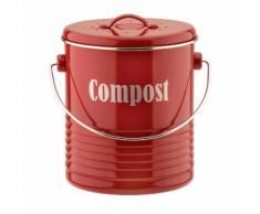 Composteur en aluminium avec couvercle et filtre charbon 2.5L Vintage Kitchen Rouge